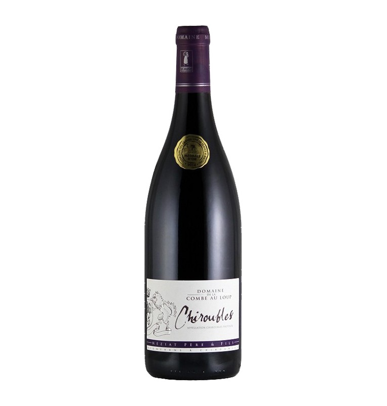 Bouteille de vin rouge Chiroubles 2016 du Domaine de la combe au loup