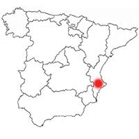 Localisation de l'appellation Vinos Alicante (Espagne)